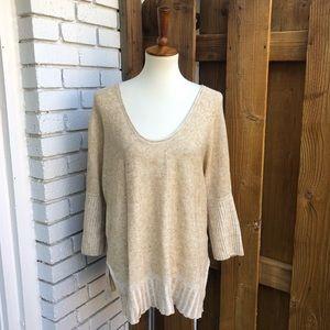 Anthropologie Moth Scoopneck Linen Sweater